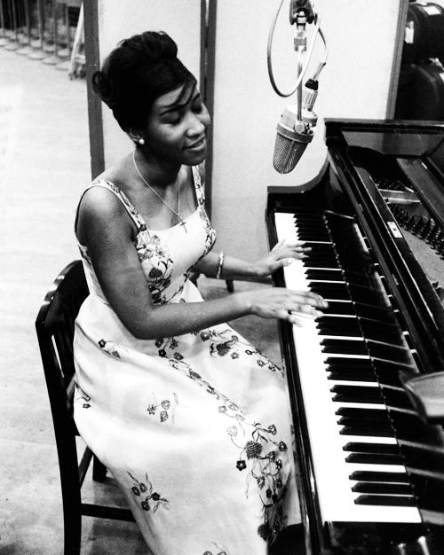 Aretha Franklin recording for Columbia Records, 1961.