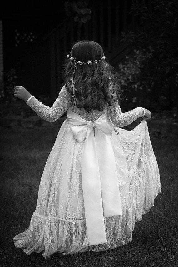 47fc933b1e26 Soft Lace White Long Flower Girl Ruffled Hem Maxi Dress Rustic Country  Forest Weddings Large Bow Girl's Dresses Kids