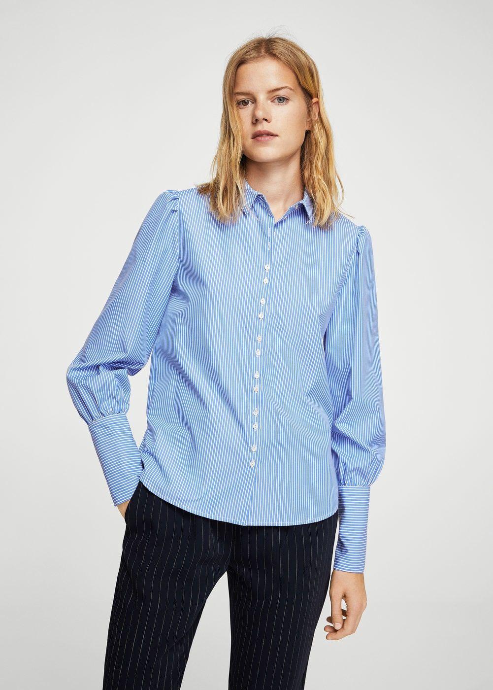 0be4d4ac3d Puffed sleeves striped shirt - Women in 2019   Tops   Ruffle blouse ...