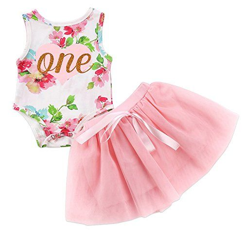 7c9d79a566ea HappyMA 2Pcs Baby Girls Tutu Dress 1st Birthday Sleeveless Floral Romper  Top Lace Skirt Outfit Clothes (12-18 Months)