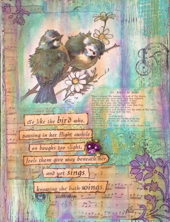 Mixed media 9x12 canvas with Victor Hugo quote