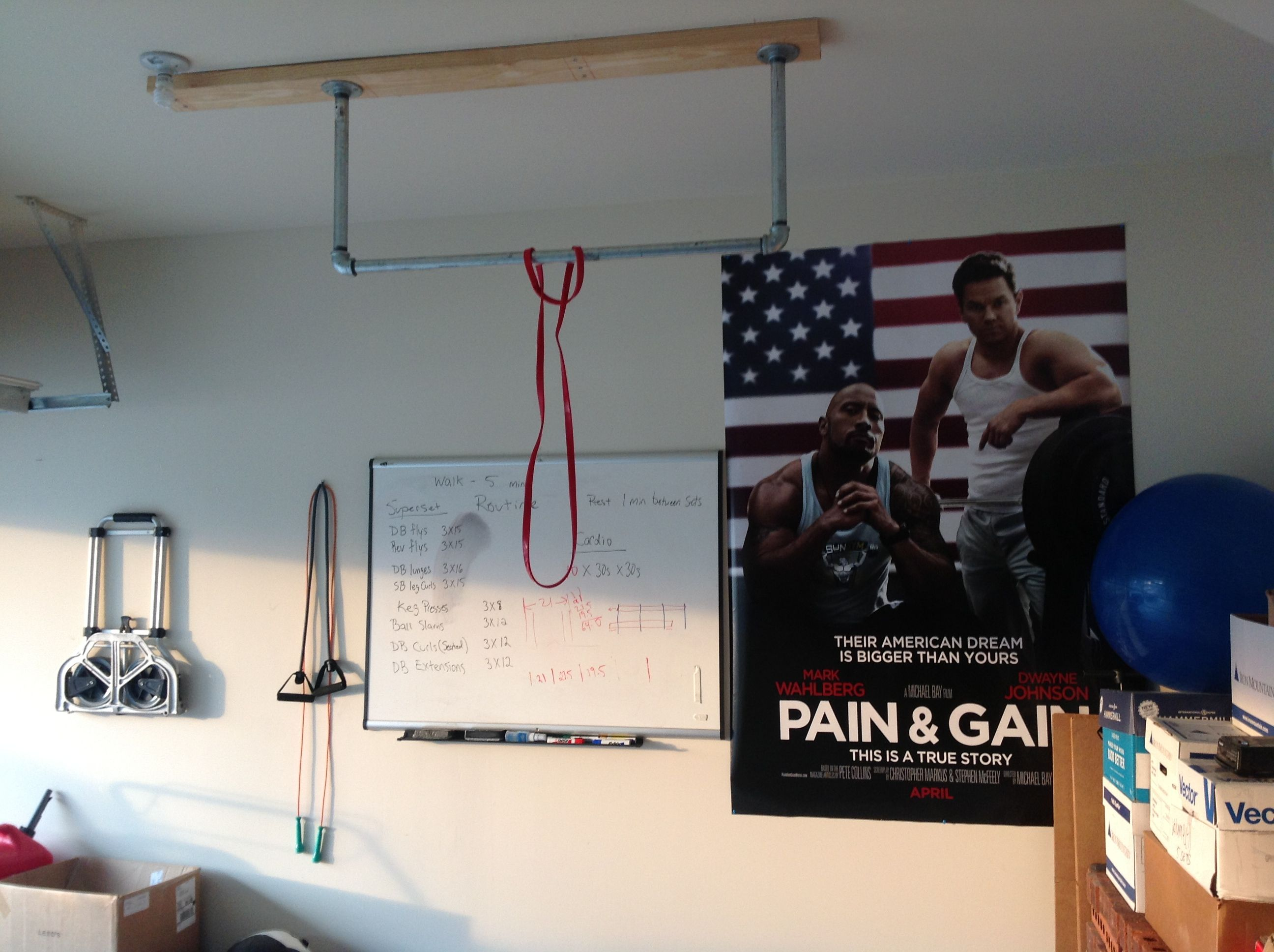 Homemade pull up bar ceiling mounted joist beam