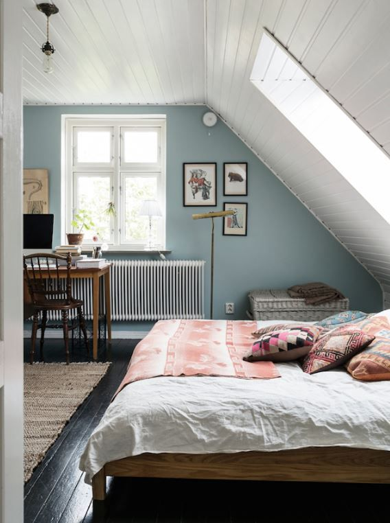 White Beadboard Ceiling, Blue Walls, White Trim, (wood Floor But Probably  Not Black Washed Like This)