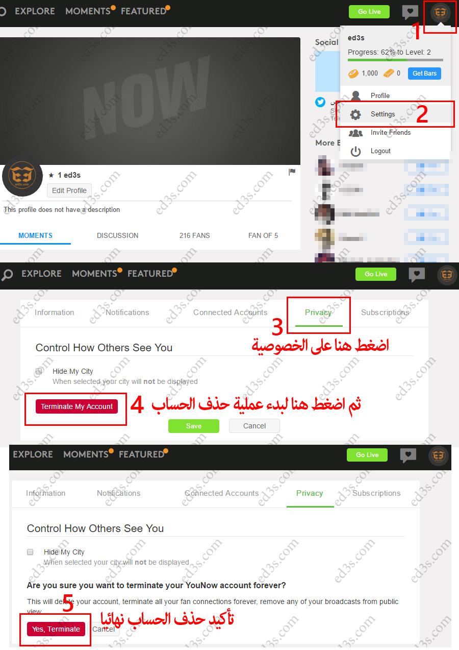 كيفية حذف حسابك في يوناو Younow بشكل نهائي Connected Accounts Invite Friends Profile Settings