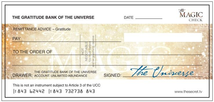 the magic cheque, money from the universe ) Law of Attraction - blank cheque template