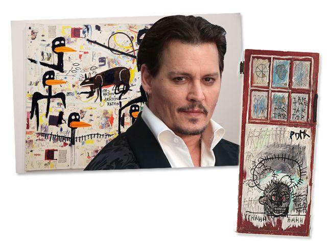 obras de basquiat-    pertencentes  pelo admirador,Johnny Deep   tamanho  em leilão