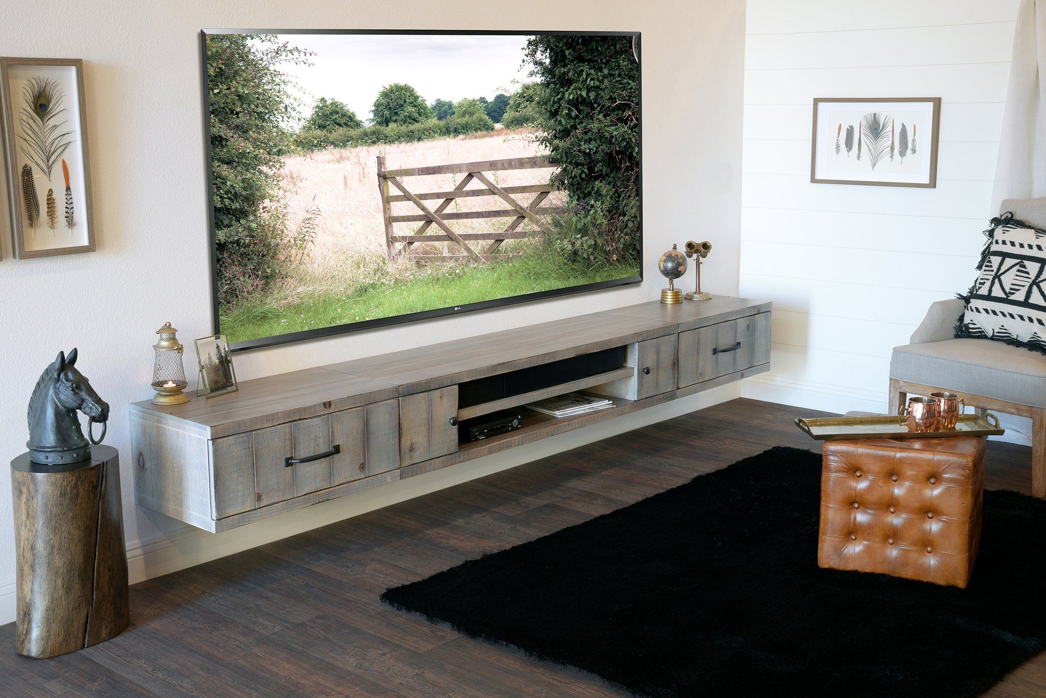 Gray Rustic Barn Wood Style Floating TV Stand
