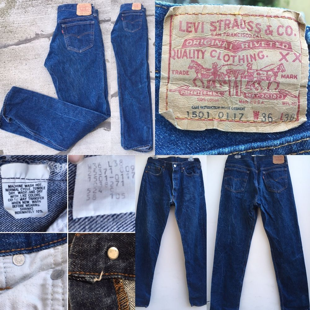 f1645d7ca96 VIntage Levi's 1501 0117 Jeans Button Fly Made In USA W36 L38 (L Measures  35) | eBay