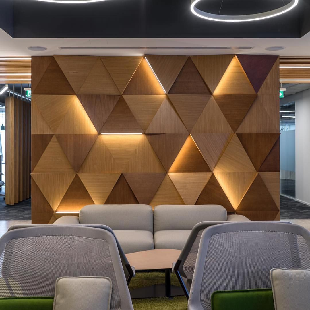 Prokk Panels S Wooden Panels Illuminate A Room While Adding An Element Of Warmth To An Office Ceiling Design Wall Design Wall Cladding
