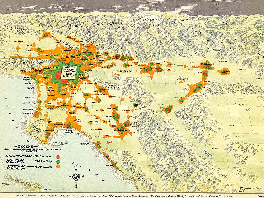 Citydig This 1929 Map Tracks L A S Population Boom At The Turn Of The 20th Century Los Angeles Magazine Ghost Los Angeles Vintage World Maps