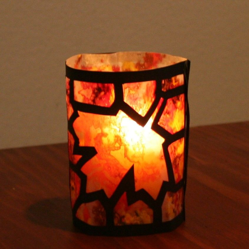 """""""Stained Glass"""" Candle Holder for Autumn.  Could do a simpler version with older kids."""