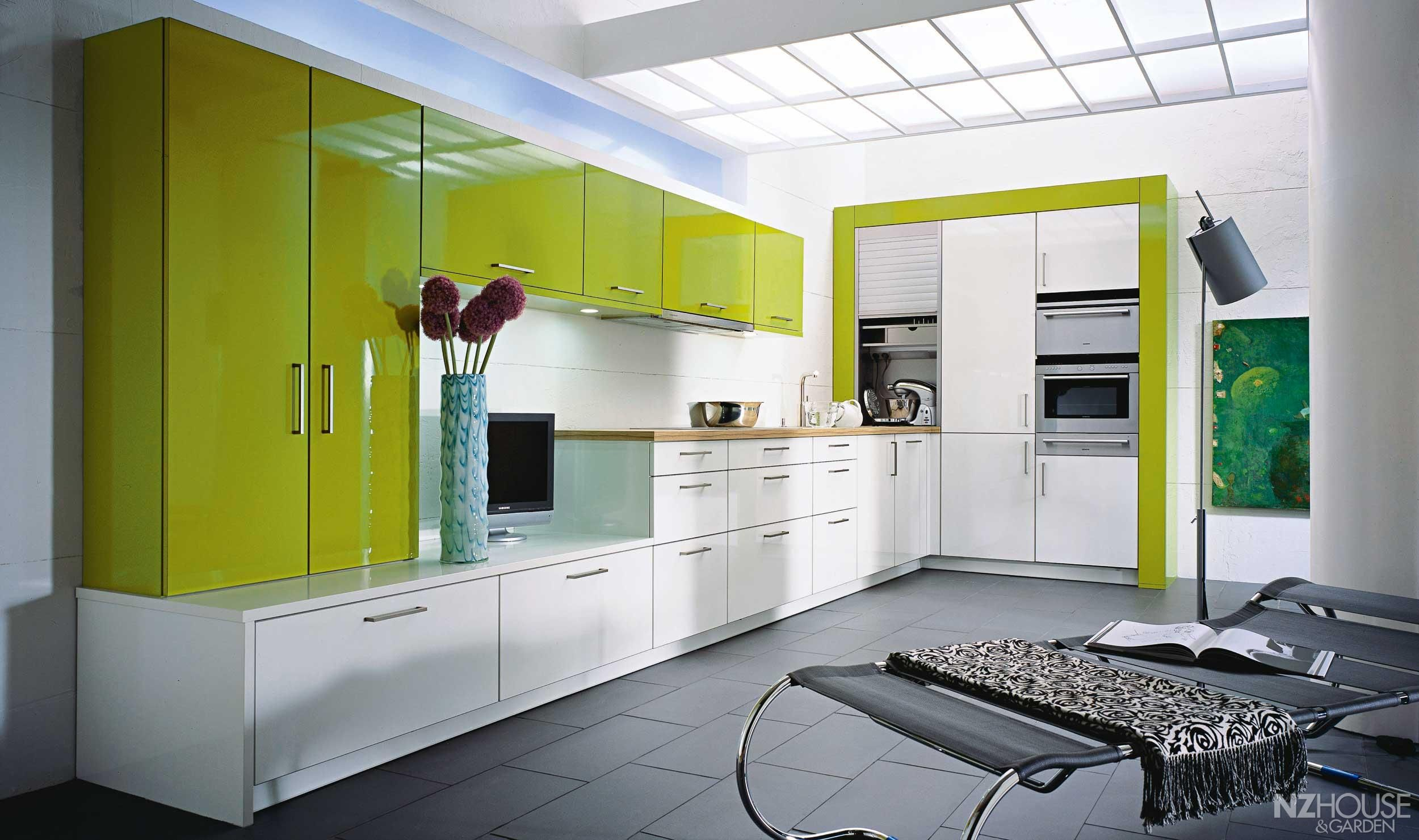 Green Kitchen Astonishing Lime Green and White Kitchen Design
