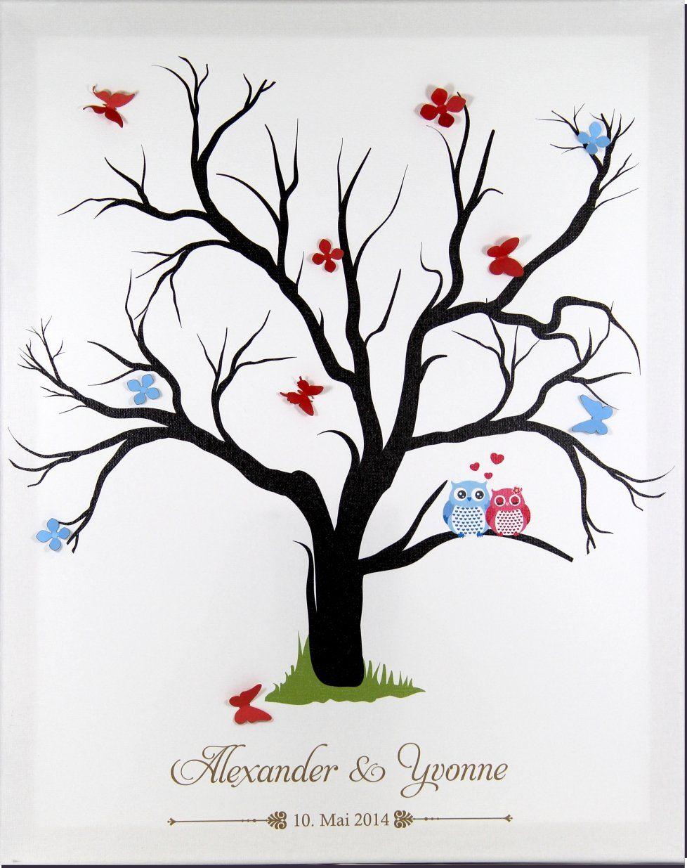 Gewaltig Bild Fingerabdruck Ideen Von Leinwand Fingerabdruckbaum Wedding Tree Hochzeitsgästebuch Als Komplettset