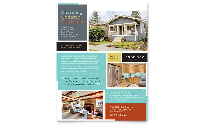 Craftsman Home Flyer Design Template By Stocklayouts | Work