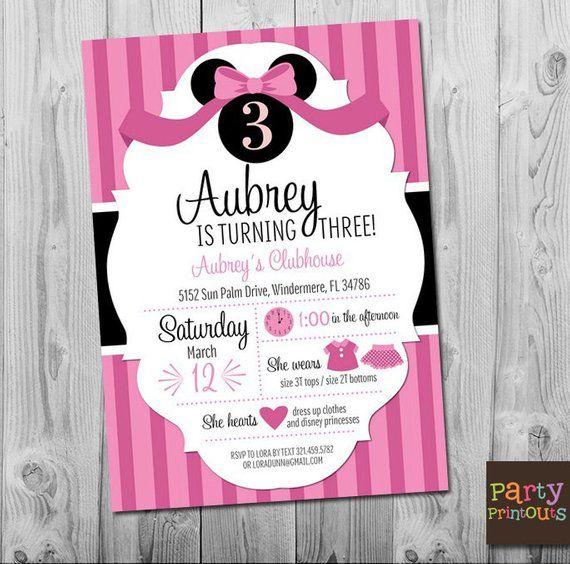 Minnie Mouse Invitation Birthday 3rd Party Invitatio