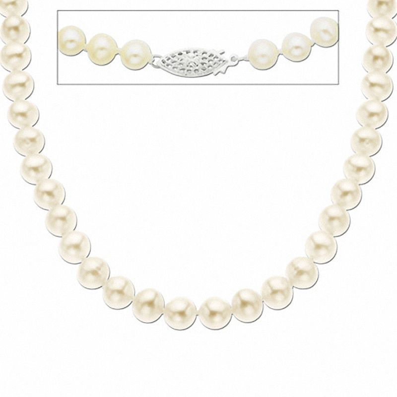 Zales Lucia Certified 7.0-7.5mm Cultured Freshwater Pearl Strand with 14K Gold Clasp - 18 WK1JbjC