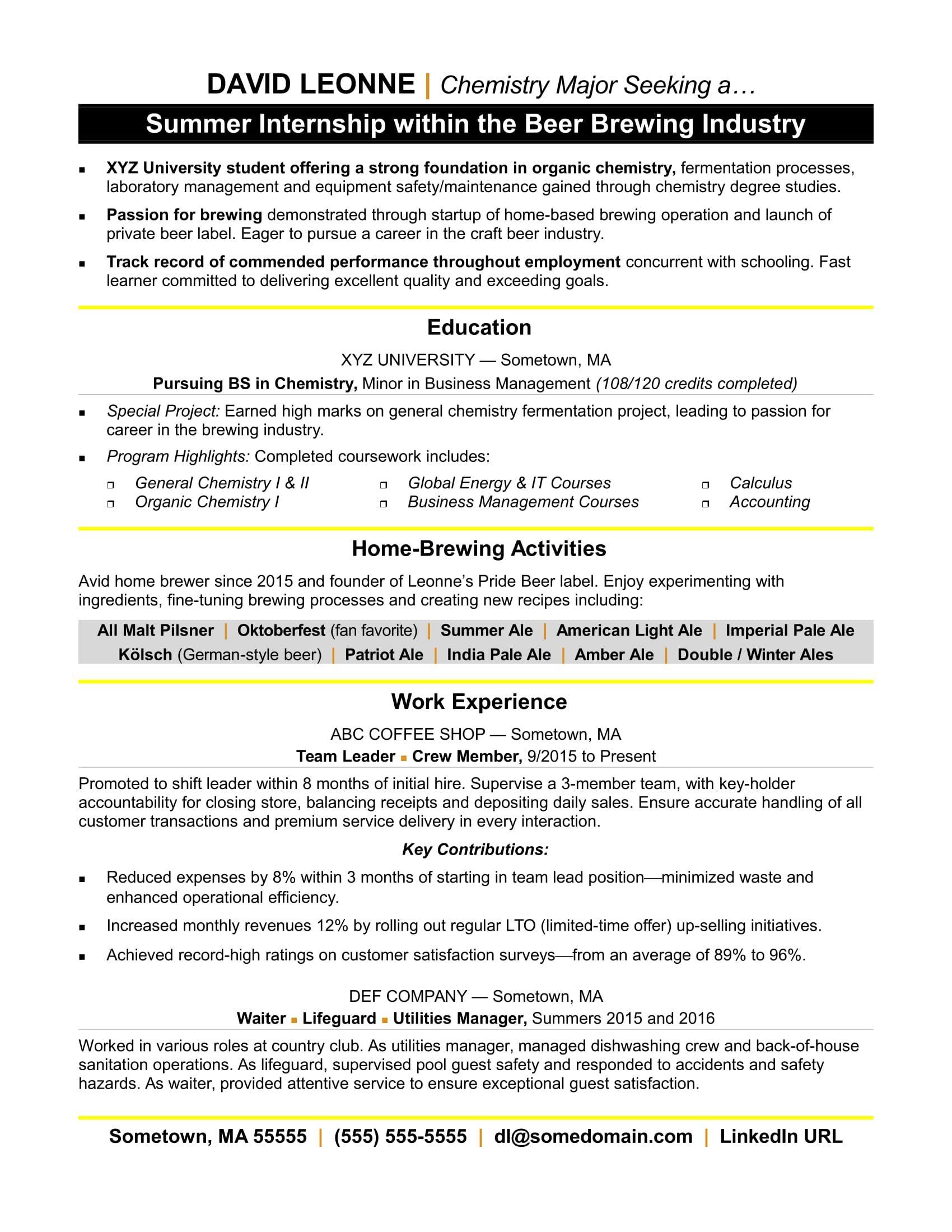 Internship resume sample (With images) Internship resume