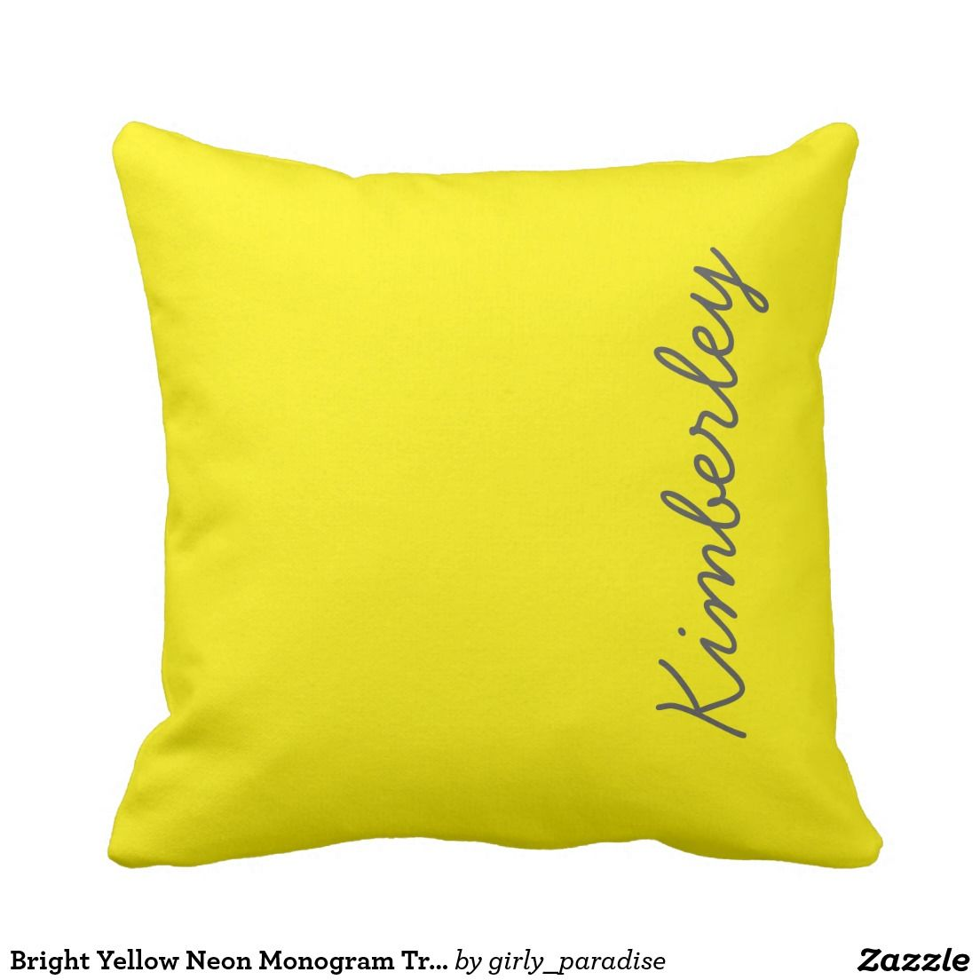 Bright Yellow Neon Monogram Trendy Fashion Colors