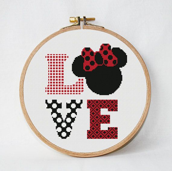 disney cross stitch pattern Love, PDF Pattern Threads, funny cross stitch pattern pdf, Minnie Mouse instant download #stitchdisney