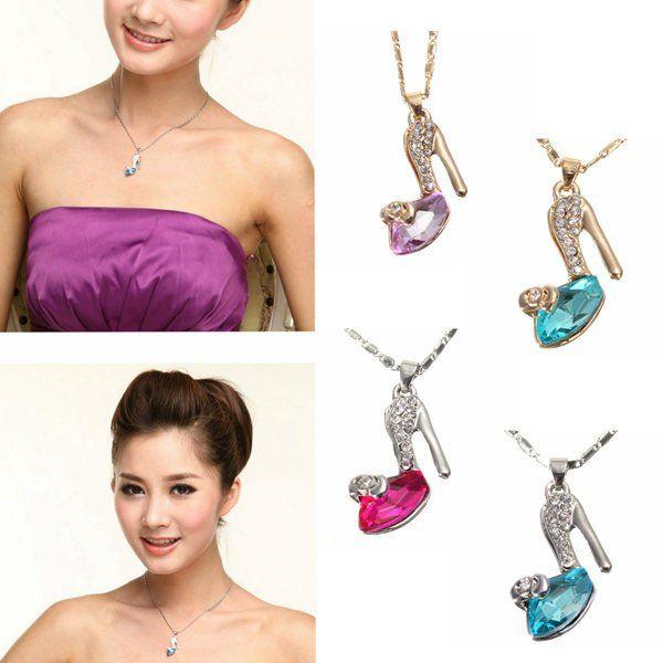 Crystal High Heel Shoe Pendant Necklace