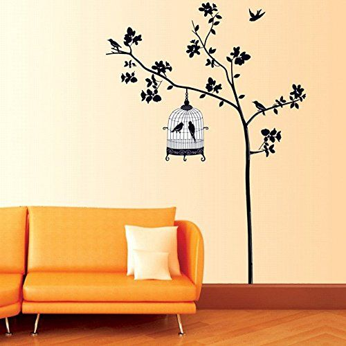 ORDERIN Christmas Gift Wall Decal Mural Black Tree with Bird Cage ...