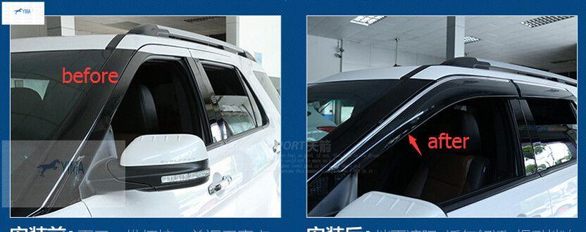 For Ford Explorer 2016 2017 Window Visors Awnings Wind Rain Shield Deflector Visor Guard Vent 4 Pcs Set Exterior Accessories Ford Explorer Car Door