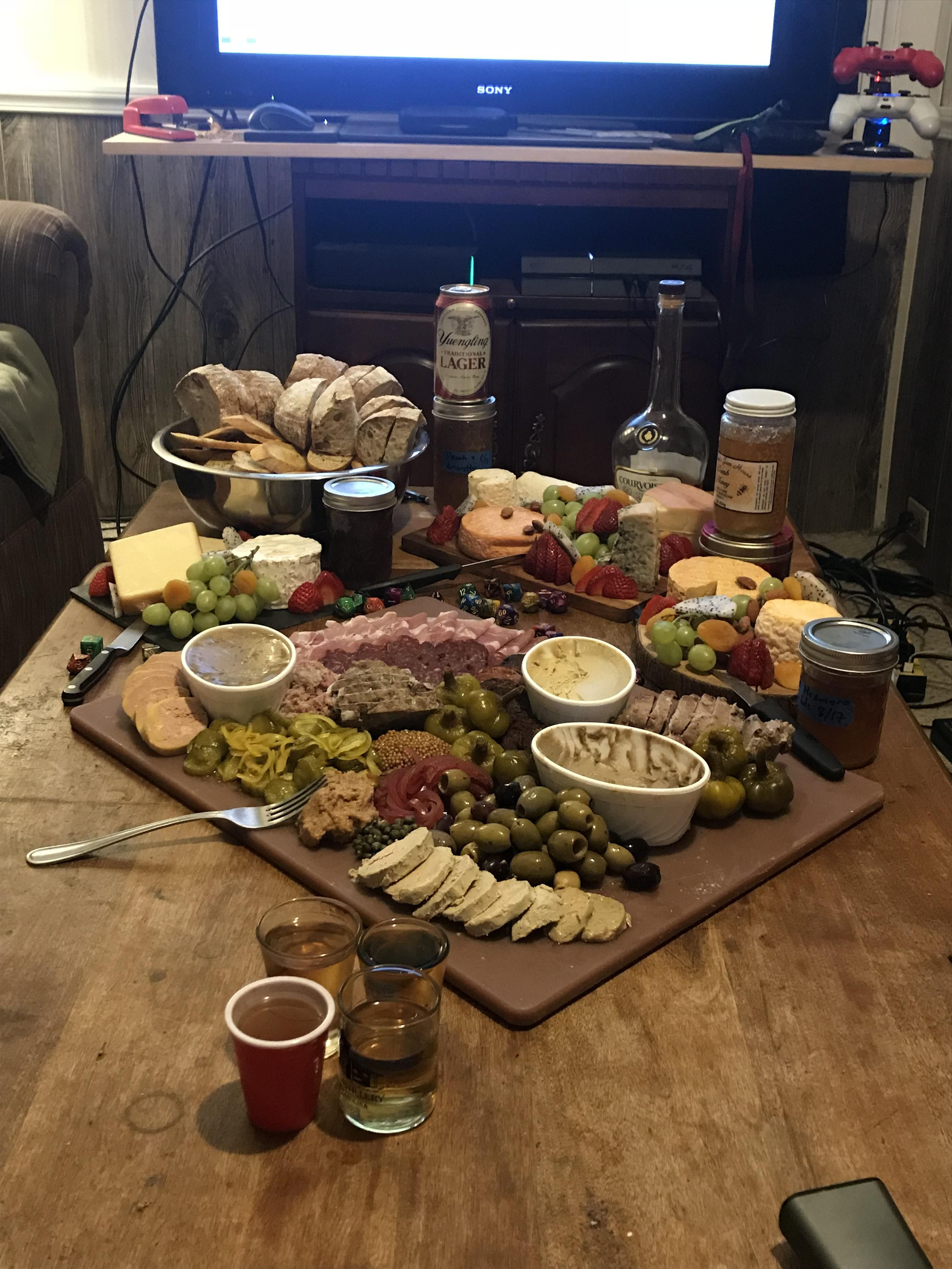 Charcuterie and cheese board before game night with my boys