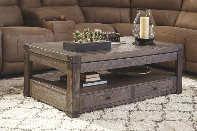 Burladen Coffee Table With Lift Top By Ashley Home Brown