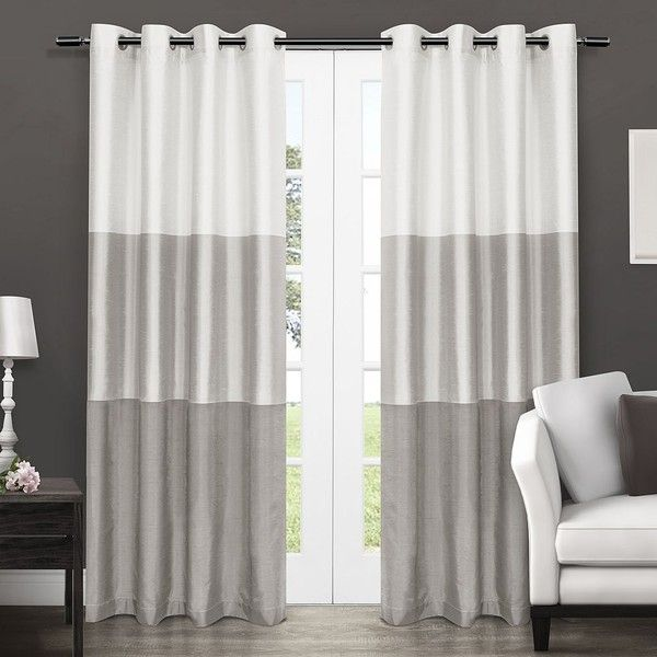 Exclusive Home 2 Pack Chateau Striped Faux Silk Curtains 120