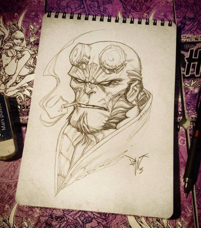 regram @pantstudio Hellboy pencil sketch on the Late Hours Sketchbook available at www.pantstudio.com  #hellboy #paolopantalena #pantstudio #art #artwork #pantalena #comicart #sketchbook #sketch #fumeti