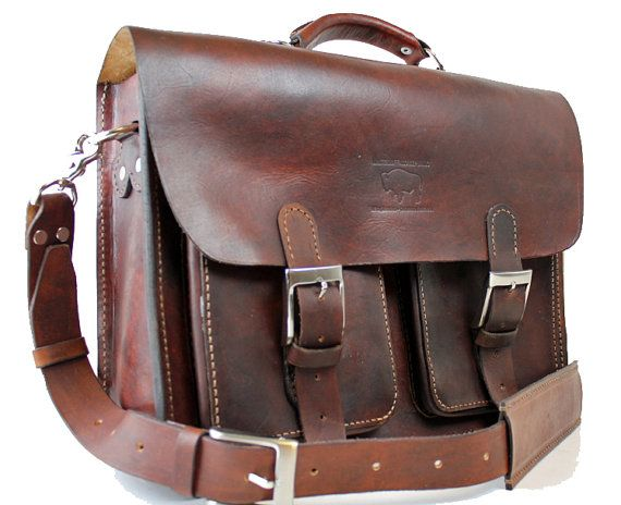e44f52bb789d Rustic Distressed Leather Messenger Bag Briefcase Laptop Satchel fits Macbook  Pro 15