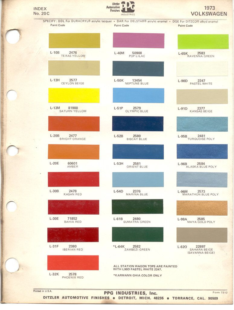 Paint Chips 1973 Volkswagen Beetle Vw Bus Volkswagen Beetle Volkswagen Vw Bus