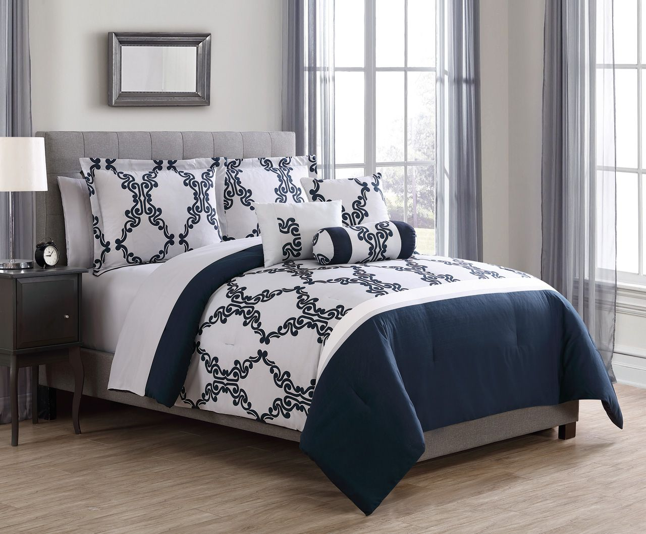 10 Piece Kayla Navy Gray With Sheets Comforter Set Bedroom Comforter Sets Comforter Sets Comfortable Bedroom Queen comforter sets with sheets