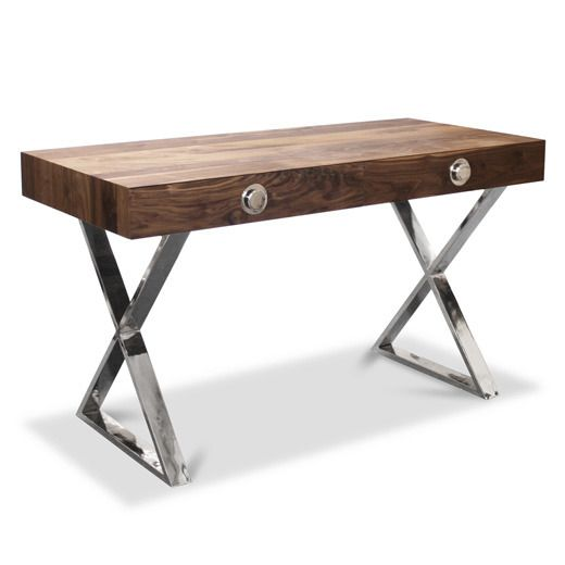 Solid Walnut and Nickel Channing Desk
