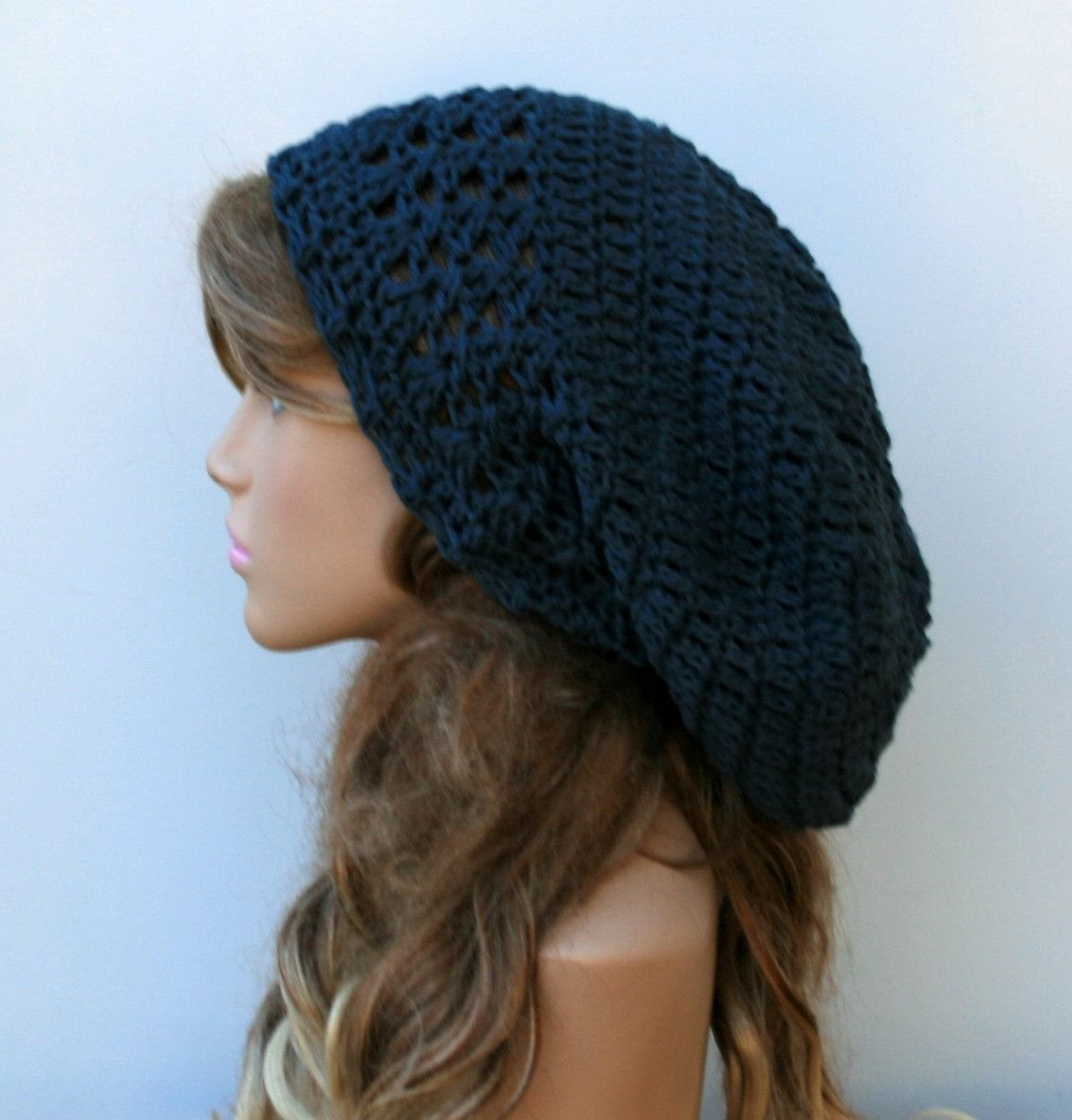 Dark gray/blue cotton Dread Tam Slouchy beanie Dreadlocks Hat ...