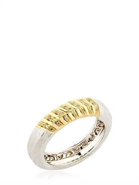 Marco Dal Maso Mens Vintage Band Ring w/ 18k Gold, Size 11