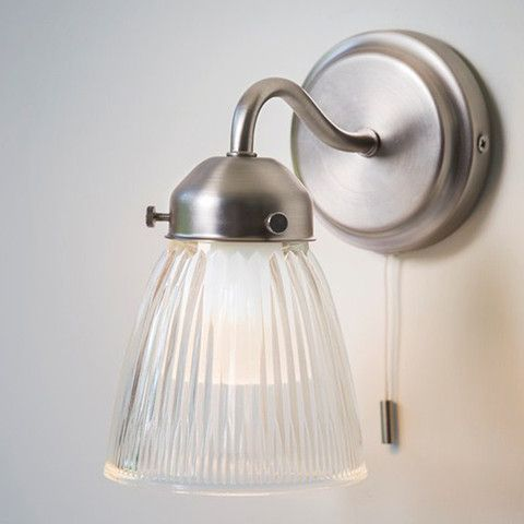 Chic Pimlico Bathroom Wall Light With Gl Shade Pull Cord The Hing 1