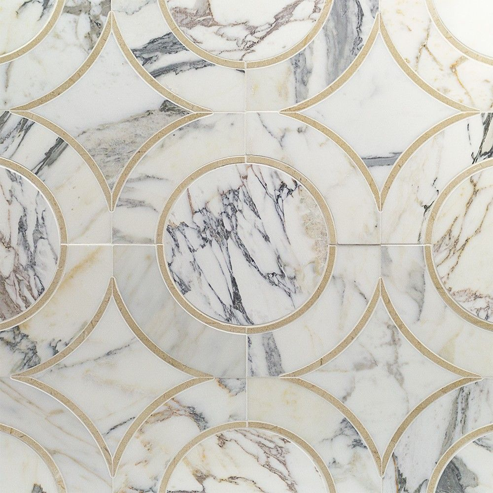 Polished marble tiles bathroom - Shop 11 81 X 11 81 Highland Alpenglow Crema Marfil Calcatta Gold Polished Marble Tile In Gray At