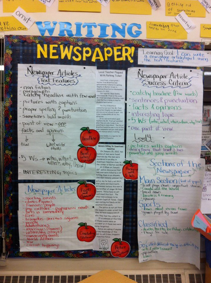 Grade 5 6 (11-12) - Newspaper focus board Writing Pinterest - board report