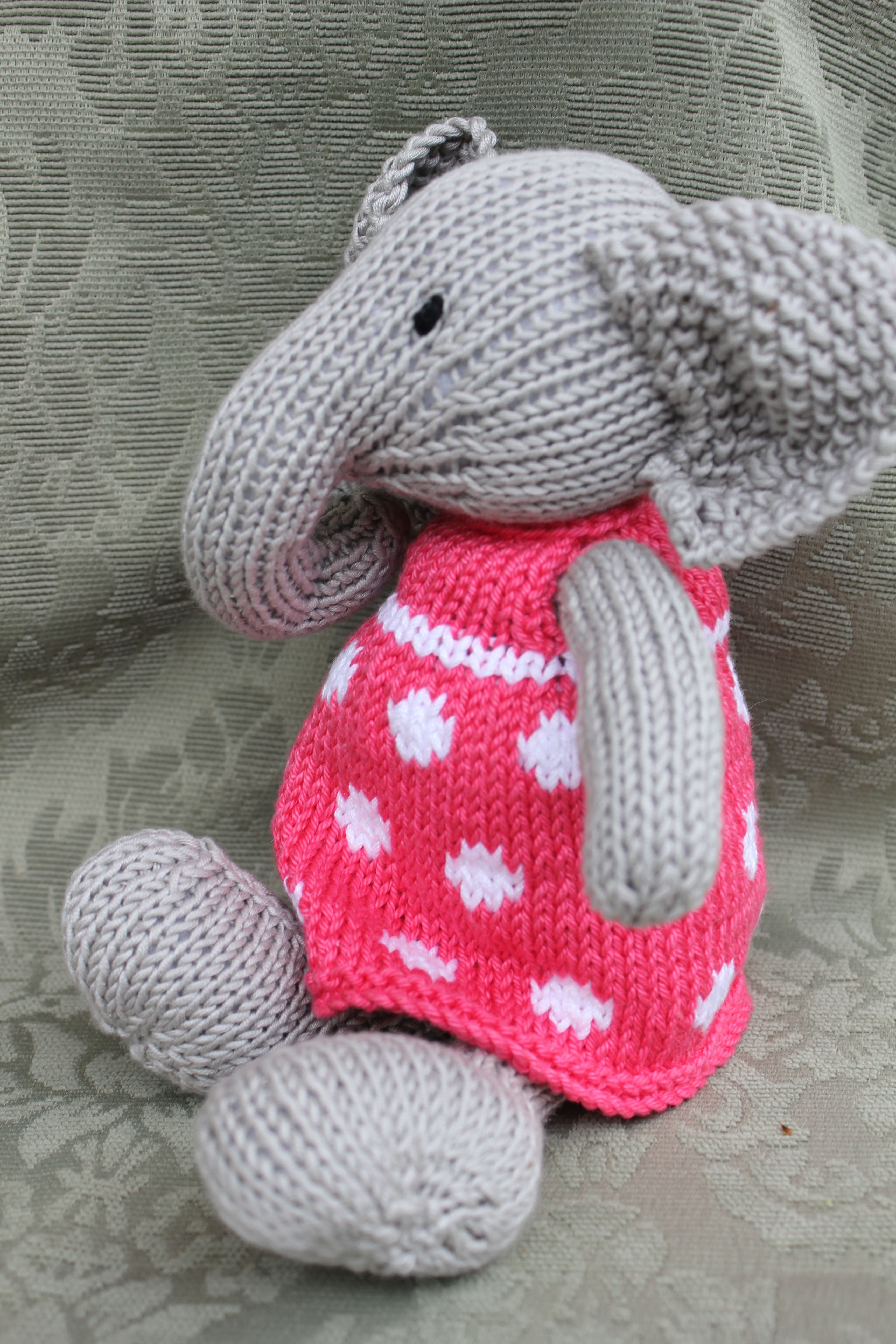 Knitted elephant pattern by Julie Williams, Little Cotton Rabbits ...