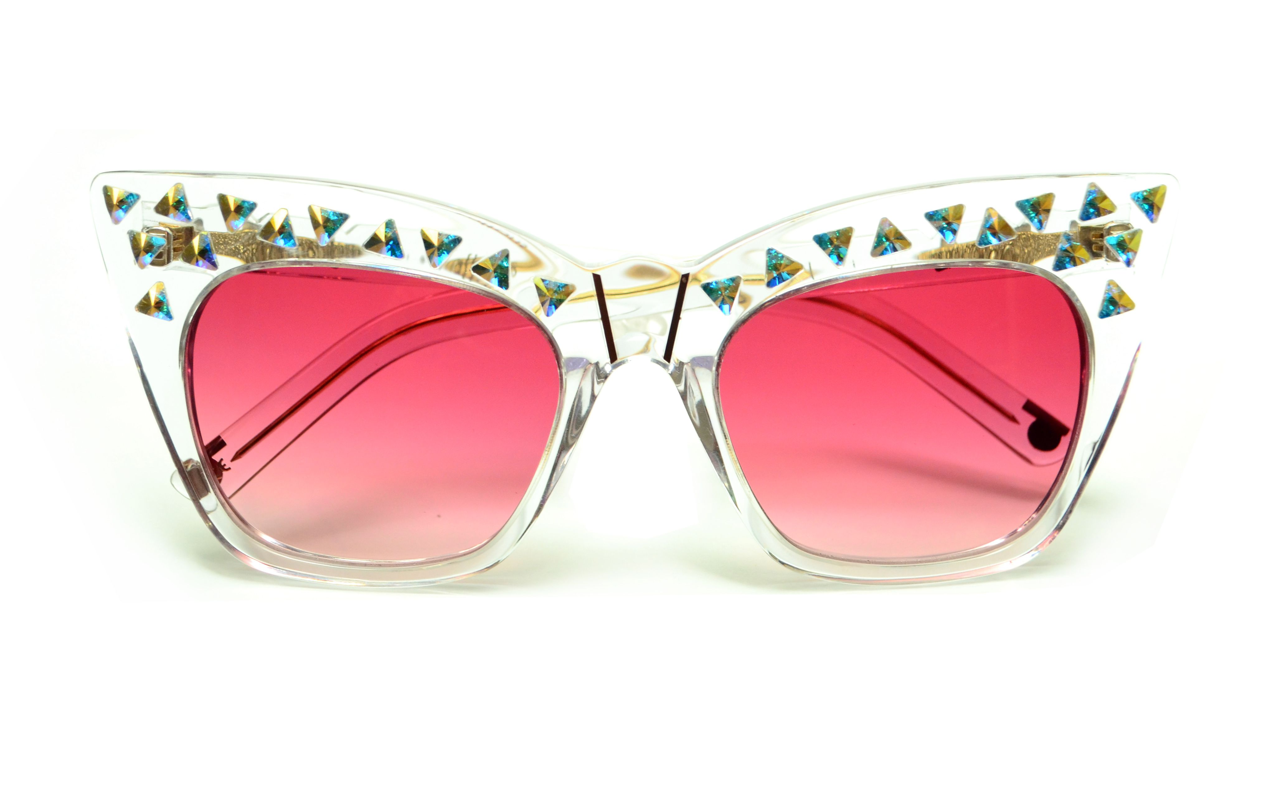 Kohl Kaftans Clear With Swarovski Crystals Pink Grant Lenses