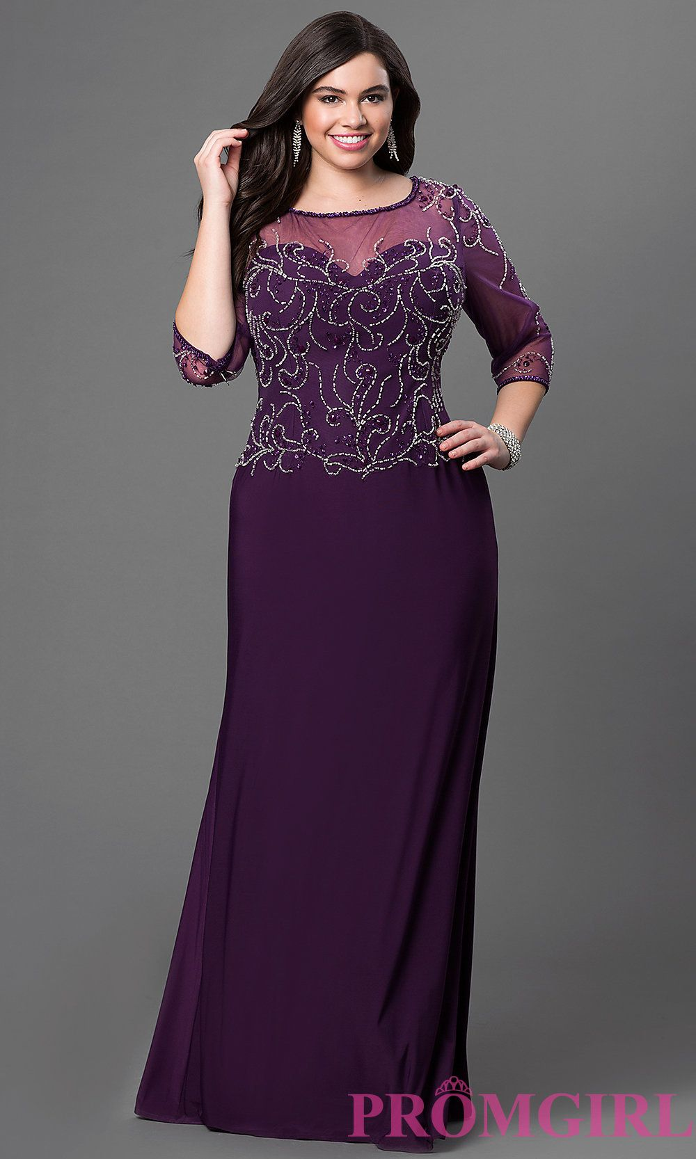 Plus Size Floor Length Formal Dress With Jewel Embellished Bodice