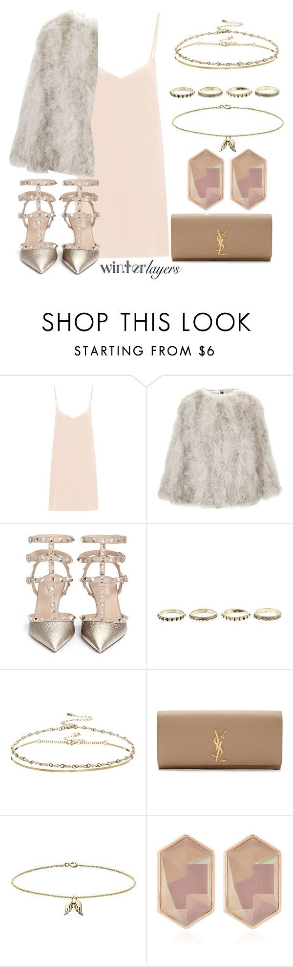 """Slip Dress"" by may-calista ❤ liked on Polyvore featuring Raey, Topshop, Valentino, ASOS, Yves Saint Laurent, Minor Obsessions, Nocturne, women's clothing, women's fashion and women"