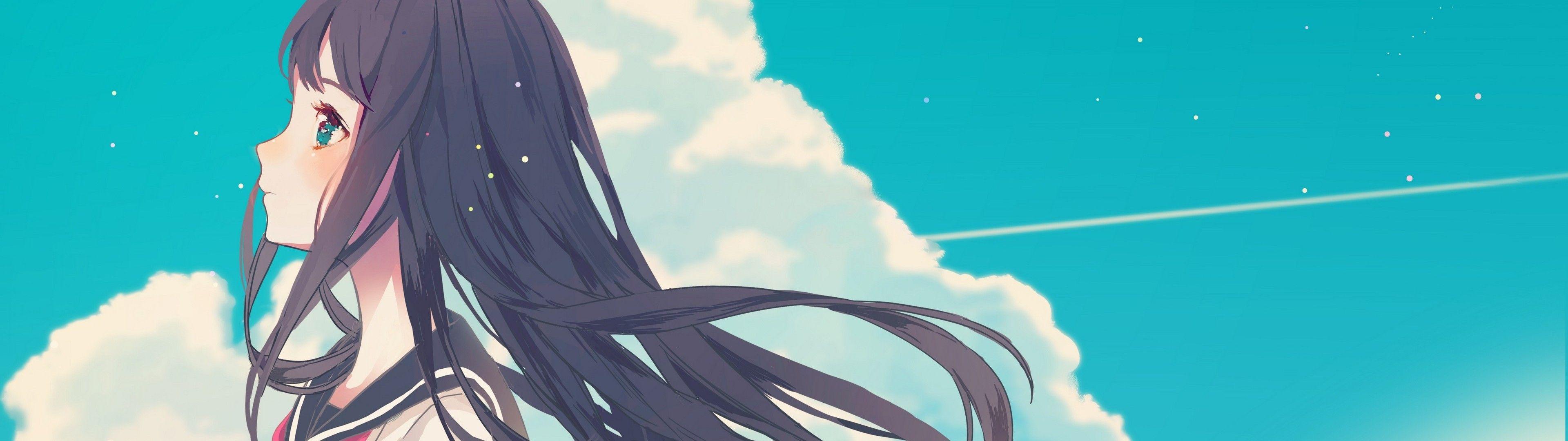 Anime 3840x1080 Anime Girls Sky Clouds Black Hair School Uniform Character Wallpaper Anime 3840x1080 Wallpaper