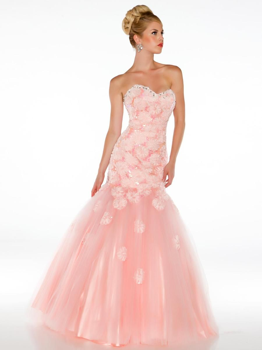 MAC DUGGAL 64315H Beaded Strapless Rosette Gown Blush $450 FREE ...