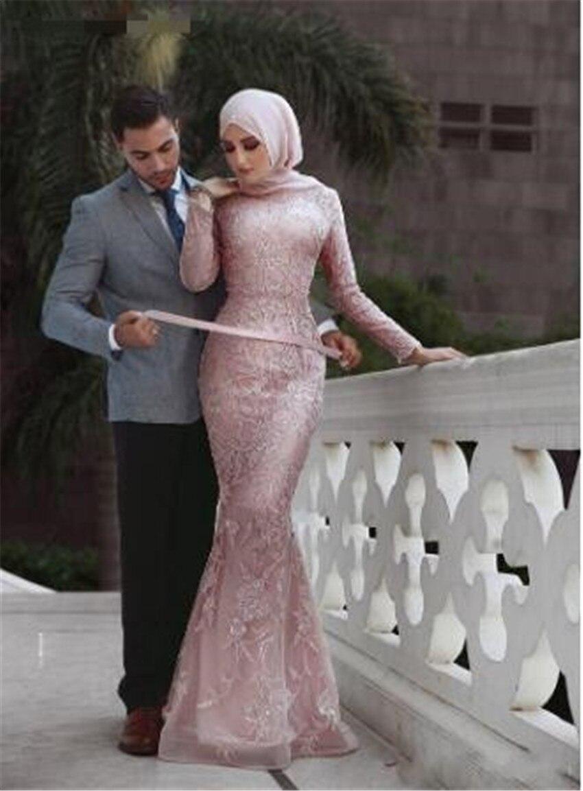 La nouvelle 2016 arabe jupe col v à manches longues rose