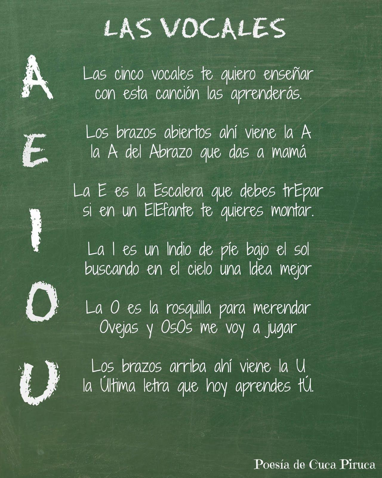 Cuca Piruca: Las cinco vocales Poesias personalizadas | Ideas para ...