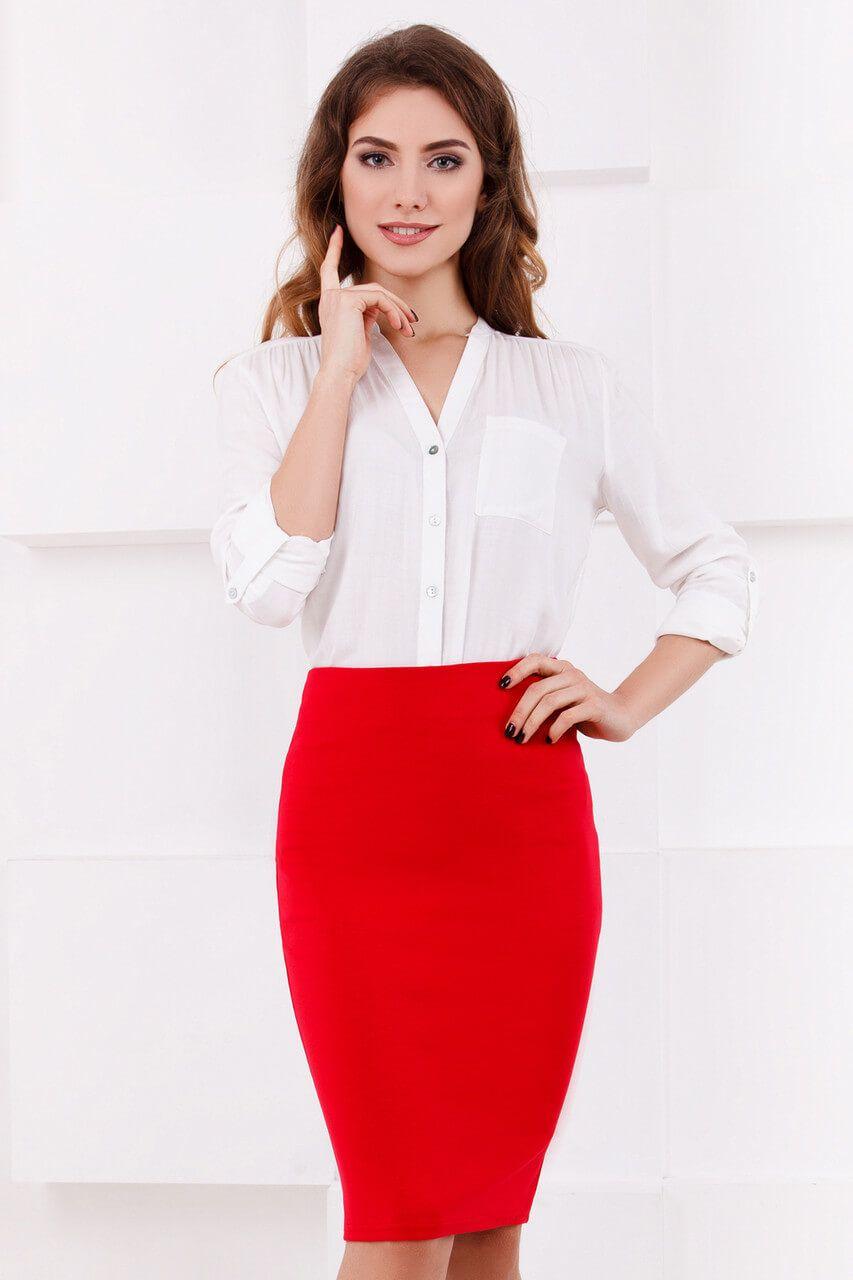 С чем носить красную юбку-карандаш: фото | Красные юбки ...
