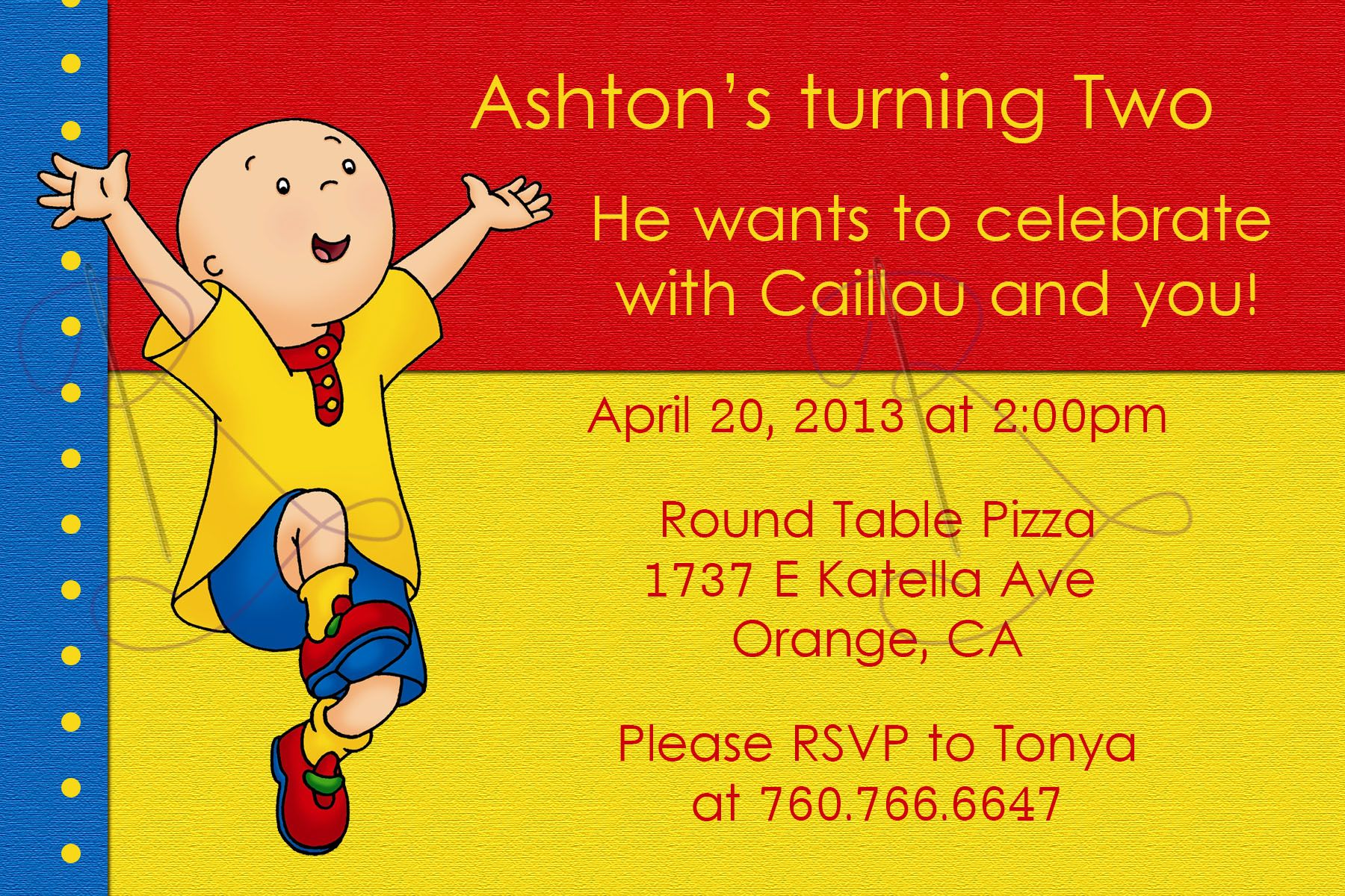 Caillou Invites! | Ashton\'s 2nd Birthday! | Pinterest | Caillou