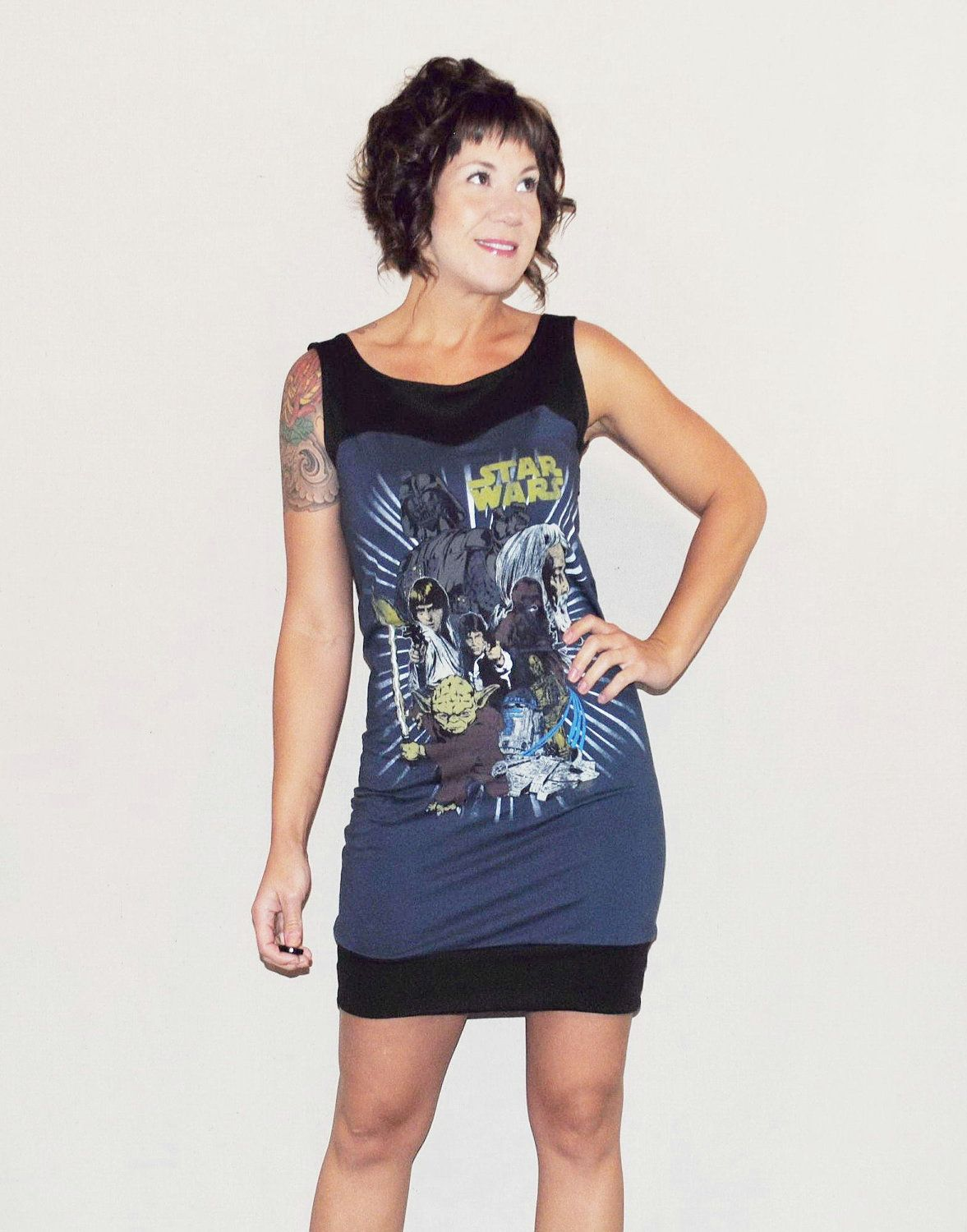 Black t shirt dress etsy - Star Wars Dress Reconstructed Upcycled Blue And Black T Shirt Made To Order